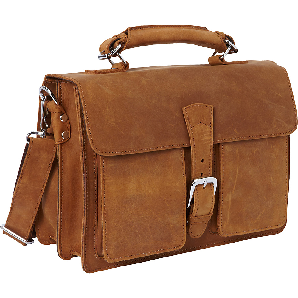 Vagabond Traveler 14 Medium Leather Laptop Briefcase Nature Brown - Vagabond Traveler Non-Wheeled Business Cases - Work Bags & Briefcases, Non-Wheeled Business Cases