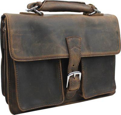 "Vagabond Traveler 14"" Medium Leather Laptop Briefcase Dar..."