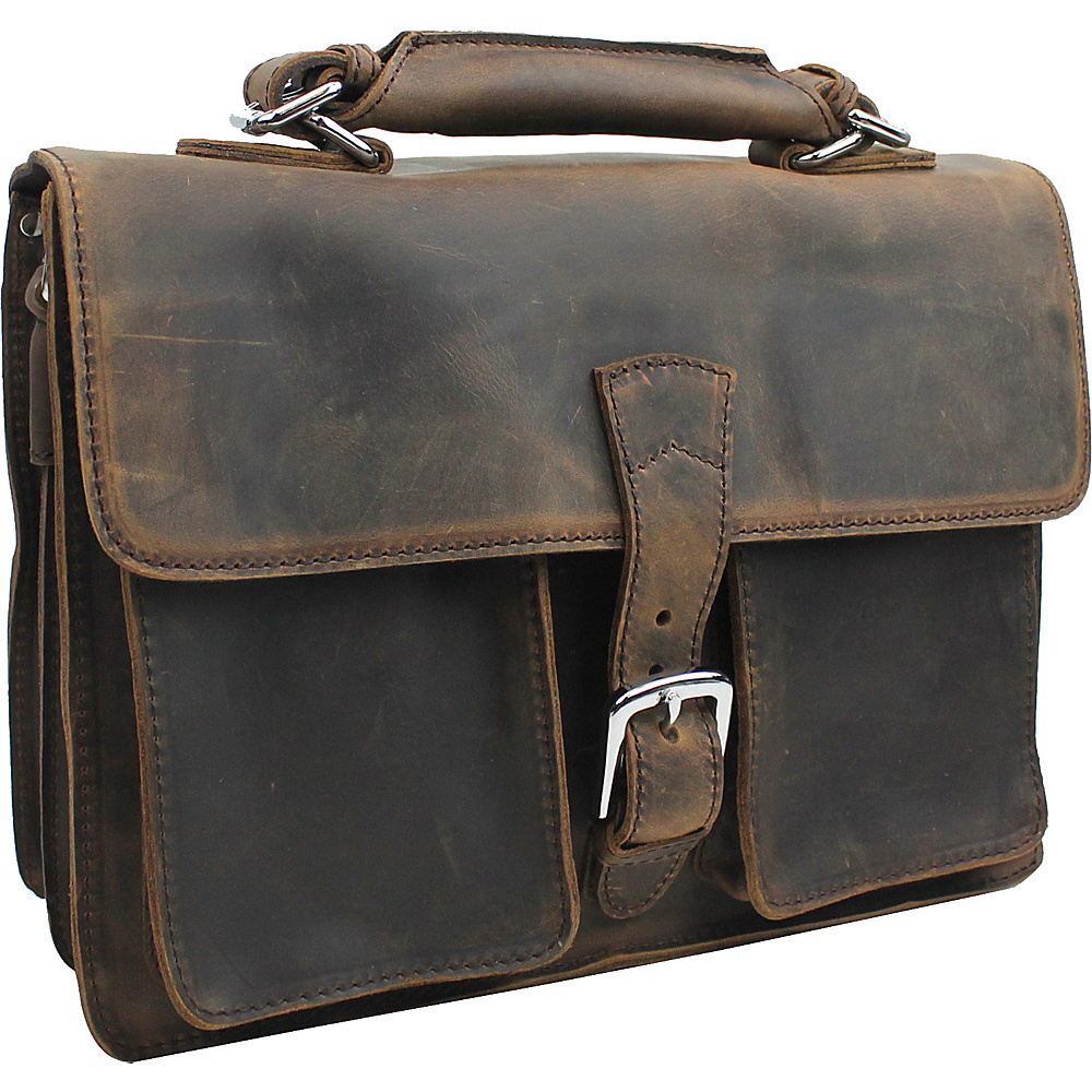 Vagabond Traveler 14 Medium Leather Laptop Briefcase Dark Brown - Vagabond Traveler Non-Wheeled Business Cases - Work Bags & Briefcases, Non-Wheeled Business Cases
