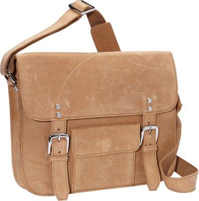 Vagabond Traveler 15 inch Leather Messenger Nature Brown - Vagabond Traveler Messenger Bags