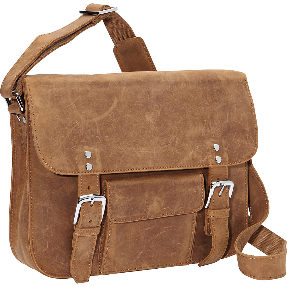 Vagabond Traveler 15 Leather Messenger Vintage Distress - Vagabond Traveler Messenger Bags - Work Bags & Briefcases, Messenger Bags