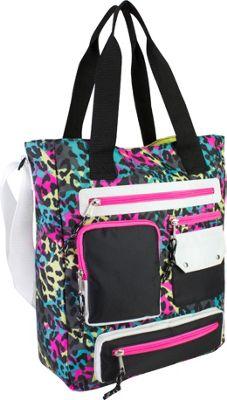 Eastsport Multi Pocket Organizational Tote Neon Cheetah - Eastsport Fabric Handbags