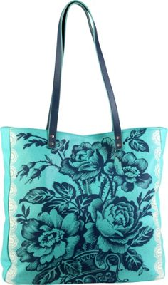 Image of Amy Butler for Kalencom Alissa Tote Cabbage Rose Turquoise - Amy Butler for Kalencom All-Purpose Totes