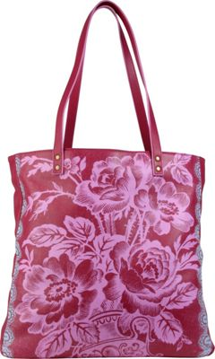 Amy Butler for Kalencom Alissa Tote Cabbage Rose Raspberry - Amy Butler for Kalencom Leather Handbags