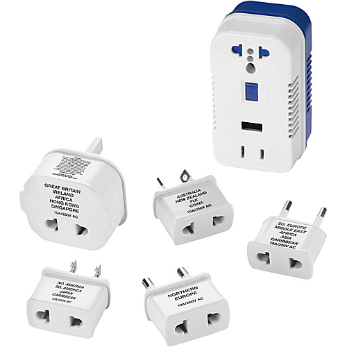 Travel Smart by Conair 1875-Watt High-Power Converter with Built-In USB Port for Single Voltage Appliances White/Blue - Travel Smart by Conair Travel Electronic