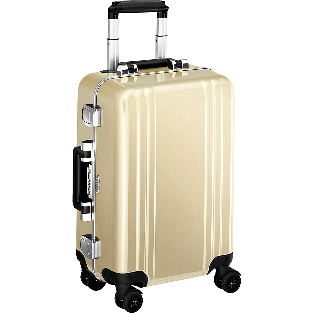 Zero Halliburton Classic Polycarbonate Carry On 4 Wheel Spinner Travel Case Polished Gold PG Zero Halliburton Hardside Carry On