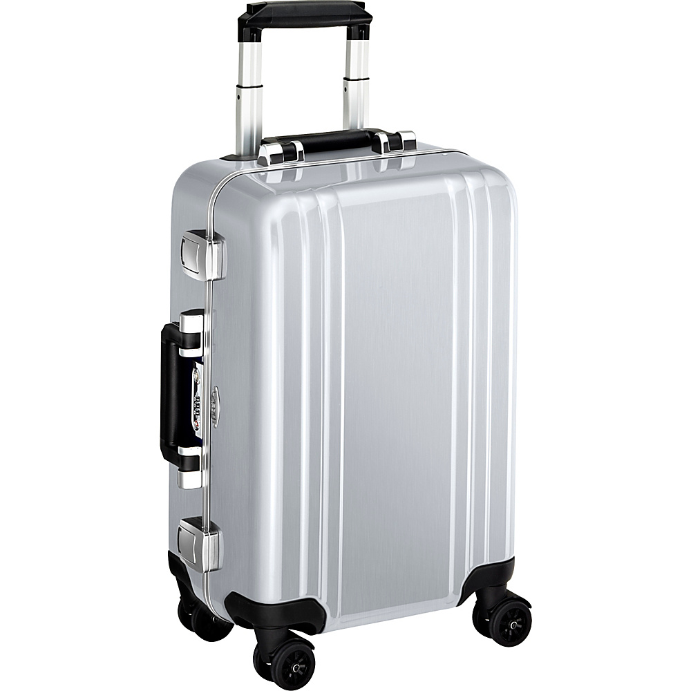 Zero Halliburton Classic Polycarbonate Carry On 4 Wheel Spinner Travel Case Silver Zero Halliburton Hardside Carry On