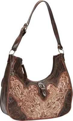 American West Annie's Secret Collection Scoop-top Hobo Distressed Charcoal Brown accented with Cream and - American West Leather Handbags