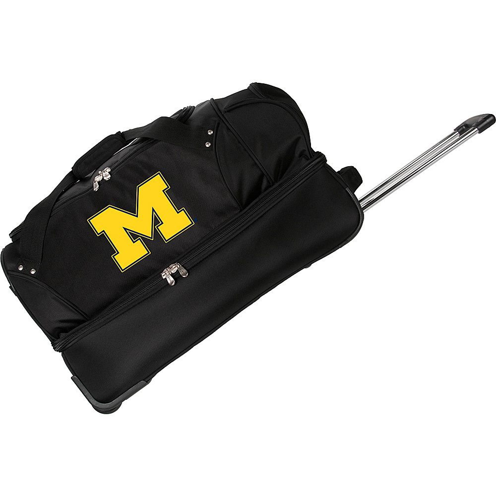 Denco Sports Luggage NCAA University of Michigan Wolverines 27 Drop Bottom Wheeled Duffel Bag Black - Denco Sports Luggage Travel Duffels - Luggage, Travel Duffels