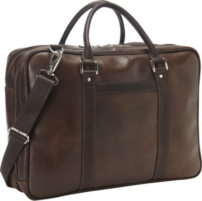 Piel Vintage Leather Laptop Brief Vintage Brown - Piel Non-Wheeled Business Cases