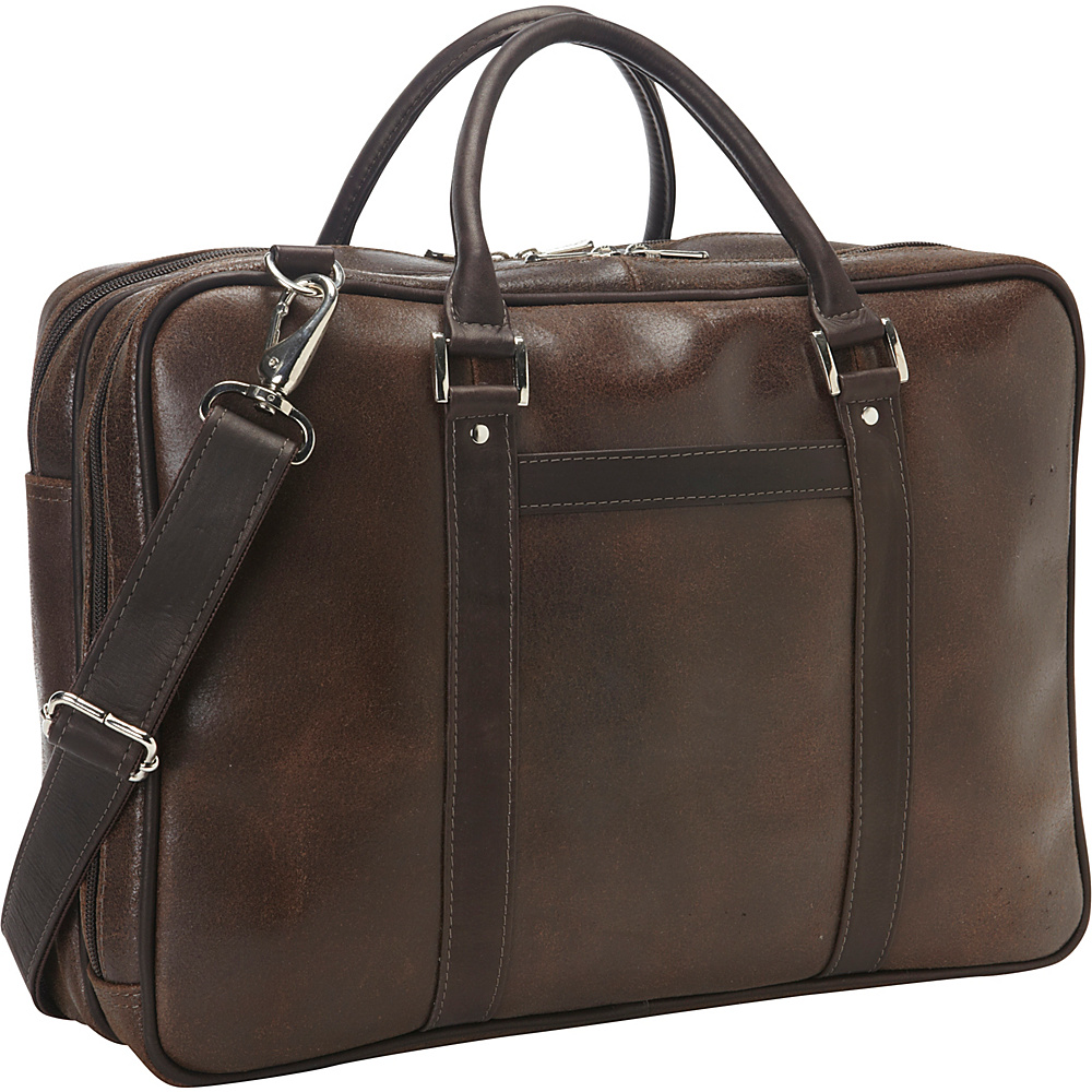 Piel Vintage Leather Laptop Brief Vintage Brown - Piel Non-Wheeled Business Cases - Work Bags & Briefcases, Non-Wheeled Business Cases