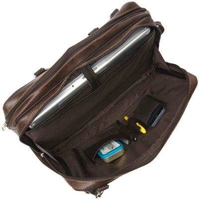 Piel Vintage Leather Laptop Brief Vintage Brown - Piel Non-Wheeled Business Cases