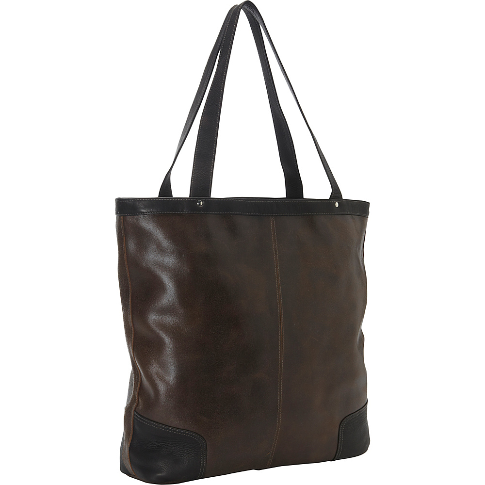 Piel Vintage Vertical Leather Tote Vintage Brown - Piel Leather Handbags - Handbags, Leather Handbags