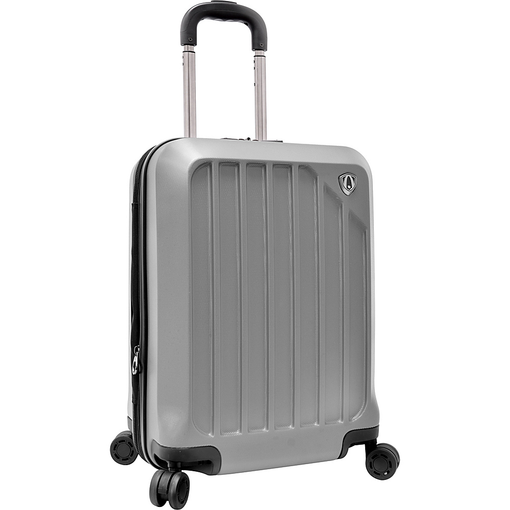 """Traveler's Choice Glacier 21"""" Hardshell Expandable Carry-On Spinner Luggage Silver Grey - Traveler's Choice Hardside Carry-On"""