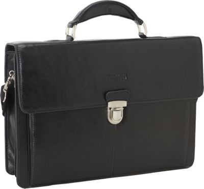 Kenneth Cole Reaction Rio Leather Portfolio Brief - EXCLUSIVE Black - Kenneth Cole Reaction Non-Wheeled Business Cases