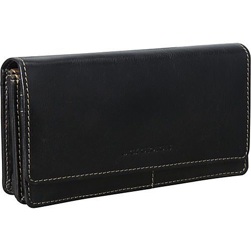 Jack Georges Montana Collection Triple Gusset Continental Black - Jack Georges Ladies Clutch Wallets