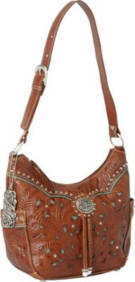 American West Lady Lace Zip-top Hobo Antique Brown w/ turq accents - American West Leather Handbags