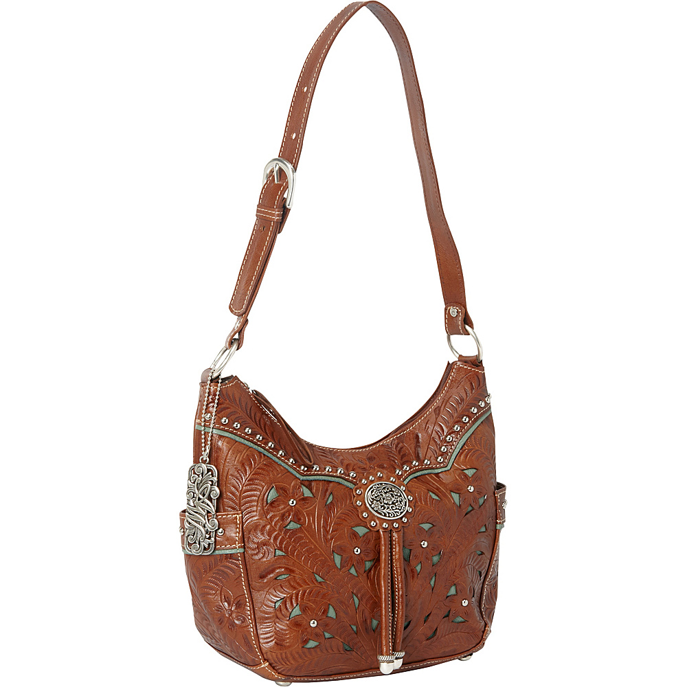 American West Lady Lace Zip top Hobo Antique Brown w turq accents American West Leather Handbags