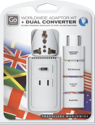 Go Travel Worldwide Adaptor Kit + Converter White - Go Travel Electronic Accessories