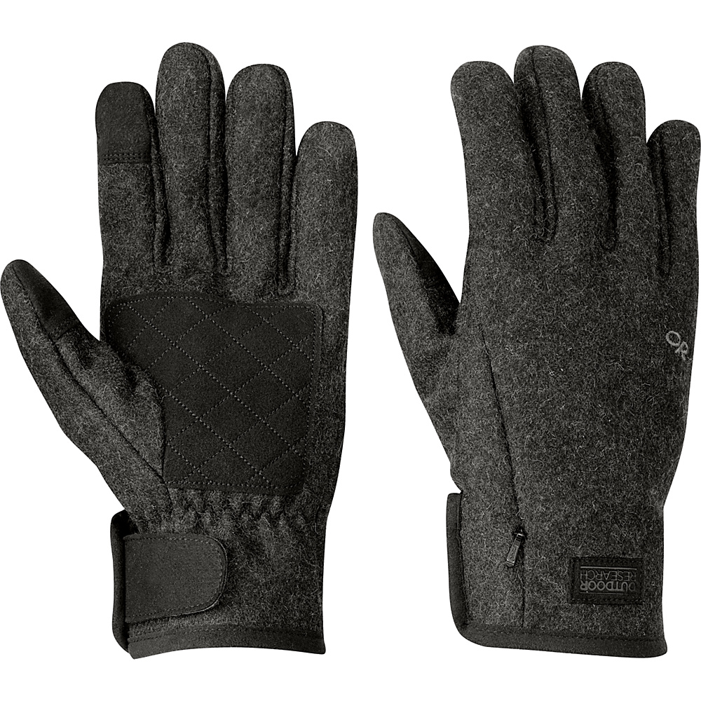 Outdoor Research Turnpoint Sensor Gloves Mens L - Charcoal - Outdoor Research Hats/Gloves/Scarves - Fashion Accessories, Hats/Gloves/Scarves