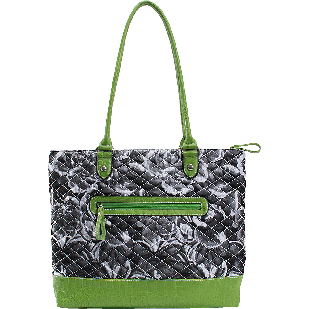 Parinda Allie Grey Floral Green - Parinda Manmade Handbags