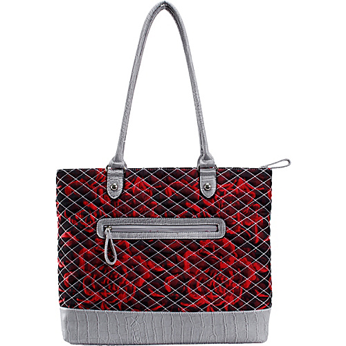 Parinda Allie Red Floral Grey - Parinda Manmade Handbags