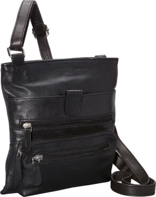 R & R Collections Front Zip Around Cross Body Black - R & R Collections Leather Handbags