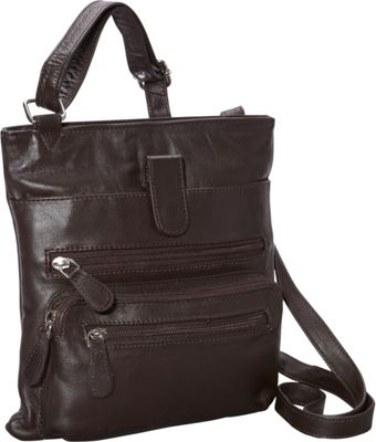 R & R Collections Front Zip Around Cross Body Brown - R & R Collections Leather Handbags