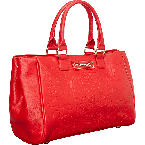 Loungefly Red Emboss Sugar Skull Fashion Tote Red - Loungefly Manmade Handbags