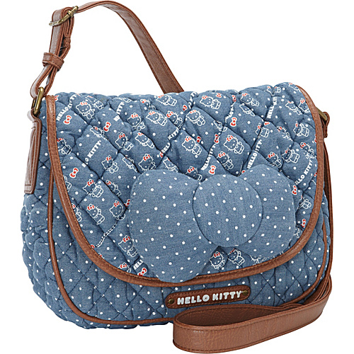 Loungefly Hello Kitty Chambray w/Bow Crossbody Bag Blue(BLUE) - Loungefly Fabric Handbags