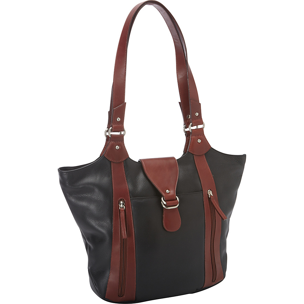 Derek Alexander Inset Top Zip Unique Shape Top Black/Brandy - Derek Alexander Leather Handbags - Handbags, Leather Handbags