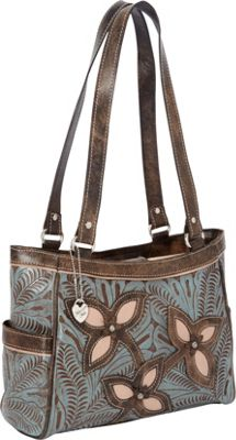 American West Sweet Blossoms 3 Compartment Tote Distressed Sky blue leather/Distressed Charcoal Br - American West Leather Handbags