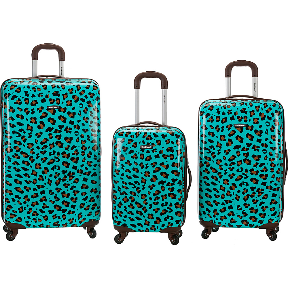 Rockland Luggage Snow Leopard 3 Pc Polycarbonate Luggage Set BLUE LEOPARD Rockland Luggage Luggage Sets