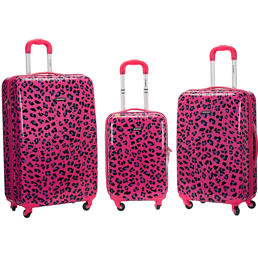 Rockland Luggage Snow Leopard 3 Pc Polycarbonate Luggage Set MAGENTA LEOPARD Rockland Luggage Luggage Sets