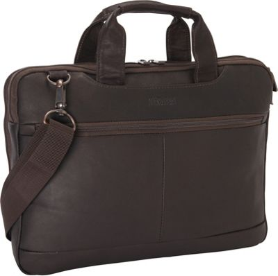 Kenneth Cole Reaction Double Sided Laptop Bag - Colombian Leather Brown - Kenneth Cole Reaction Non-Wheeled Business Cases