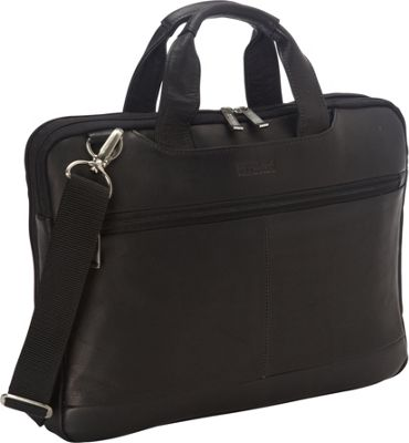 Kenneth Cole Reaction Double Sided Laptop Bag - Colombian Leather Black - Kenneth Cole Reaction Non-Wheeled Business Cases