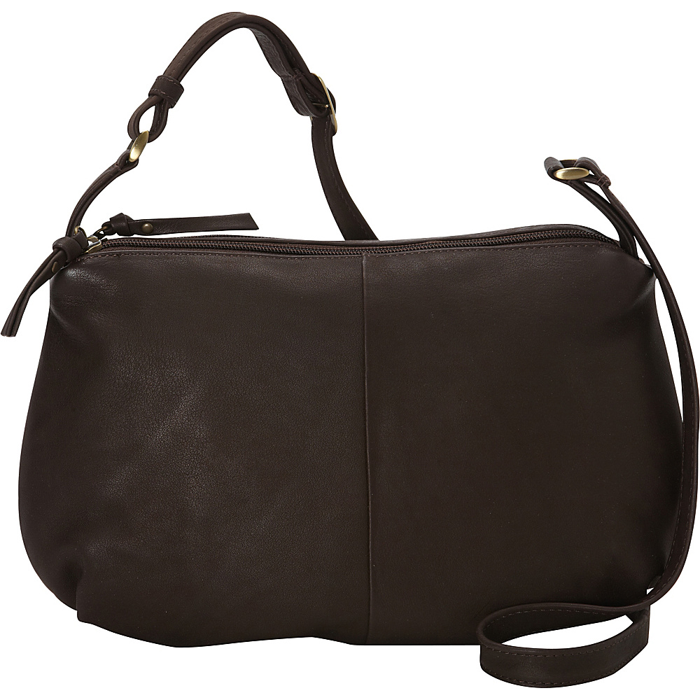 Derek Alexander EW Soft Pouch Top Zip Brown - Derek Alexander Leather Handbags - Handbags, Leather Handbags