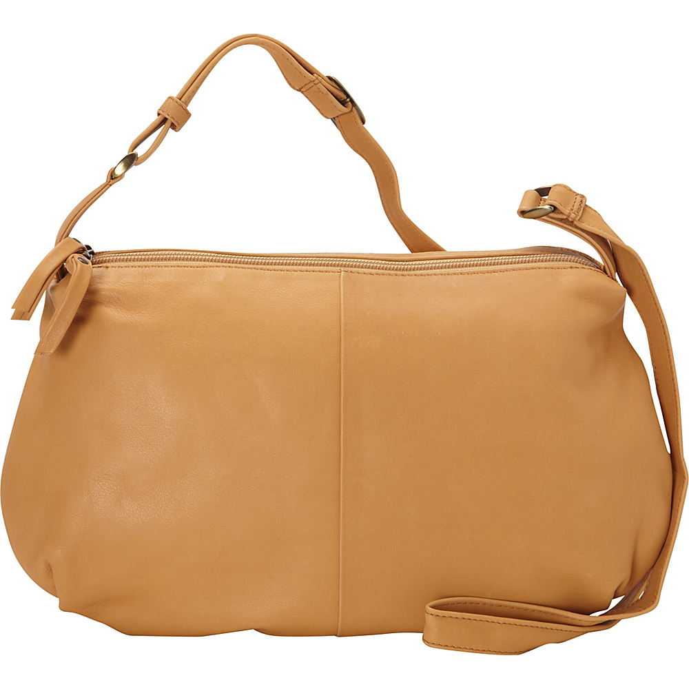 Derek Alexander EW Soft Pouch Top Zip Buff - Derek Alexander Leather Handbags - Handbags, Leather Handbags