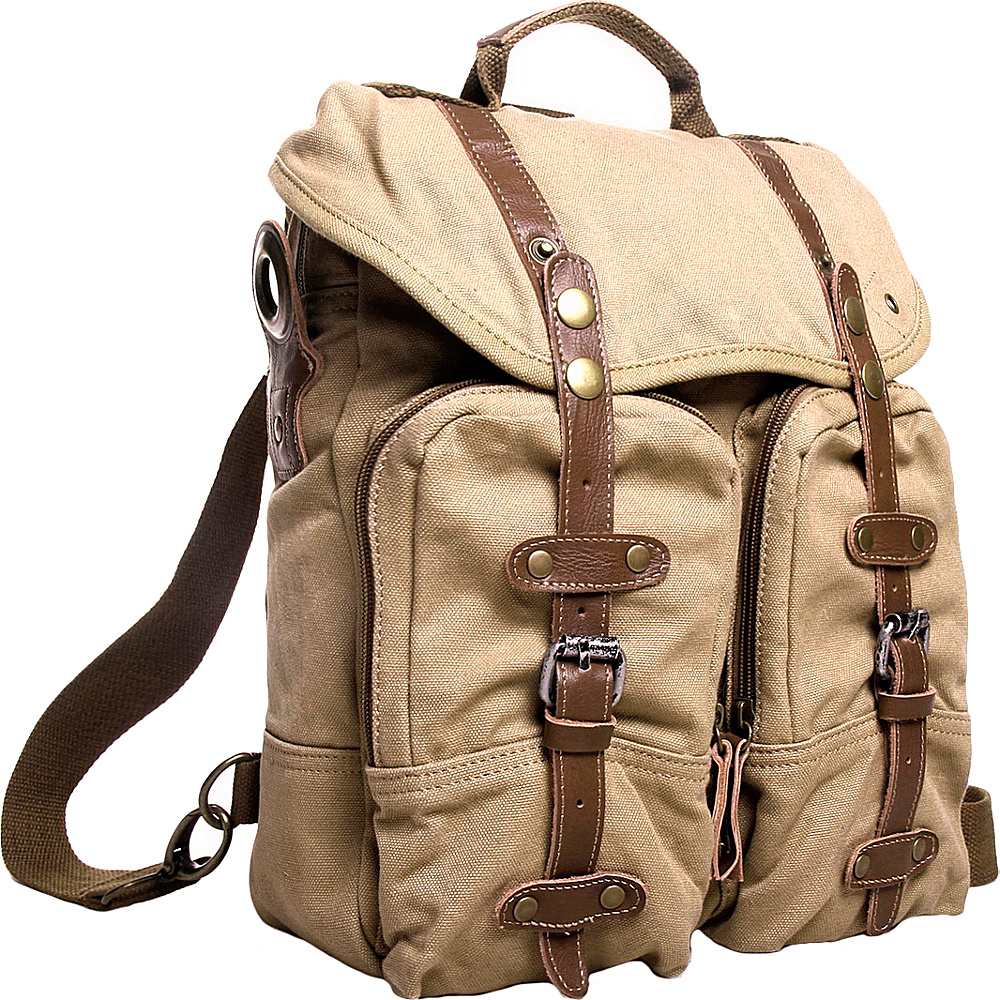 Vagabond Traveler Tall 13 Casual Backpack Messenger Bag Khaki - Vagabond Traveler Day Hiking Backpacks - Outdoor, Day Hiking Backpacks