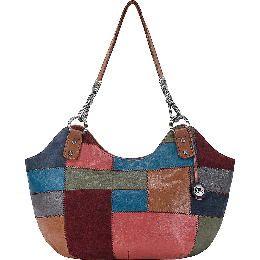 The Sak Indio Satchel Shoulder Bag Leather Multi Patch The Sak Leather Handbags