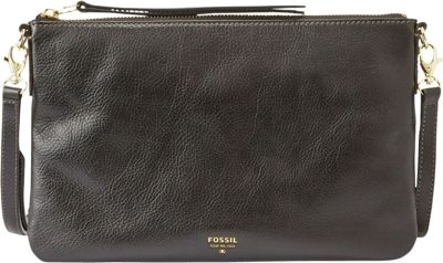 Fossil Sydney Top Zip Crossbody Black - Fossil Leather Handbags