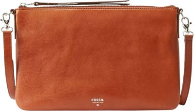 Fossil Sydney Top Zip Crossbody Brown - Fossil Leather Handbags