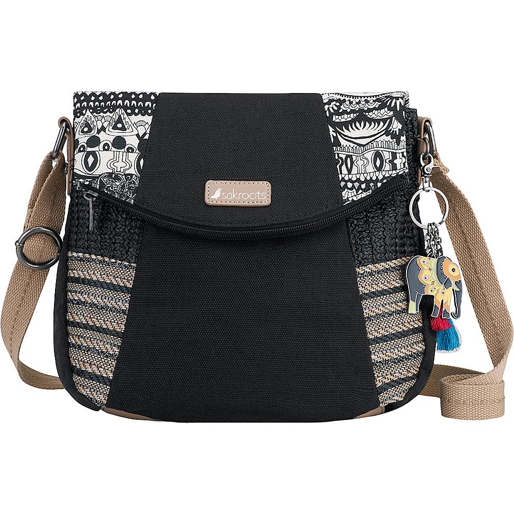 Sakroots Artist Circle Foldover Crossbody Black & White One World - Sakroots Fabric Handbags - Handbags, Fabric Handbags