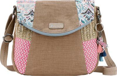 Sakroots Artist Circle Foldover Crossbody Turq Brave Beauti - Sakroots Fabric Handbags