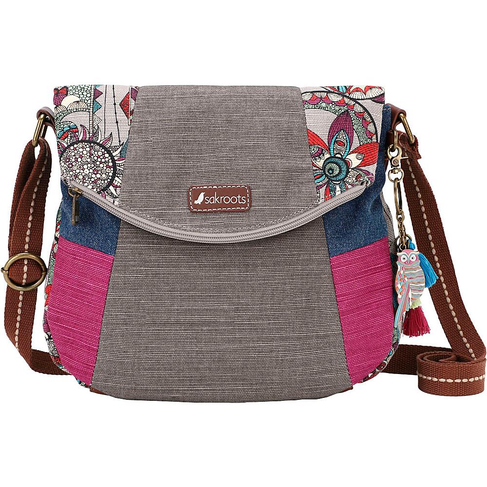 Sakroots Artist Circle Foldover Crossbody Charcoal Spirit Desert - Sakroots Fabric Handbags - Handbags, Fabric Handbags
