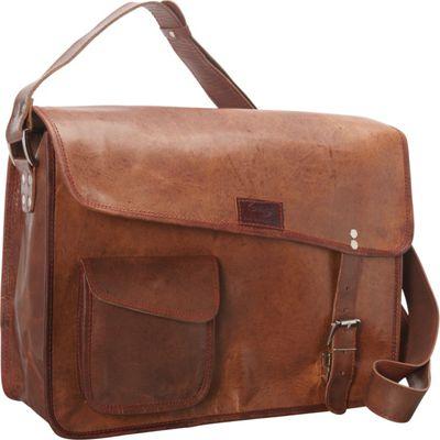 Sharo Leather Bags Computer Messenger Bag Dark Brown - Sharo Leather Bags Messenger Bags