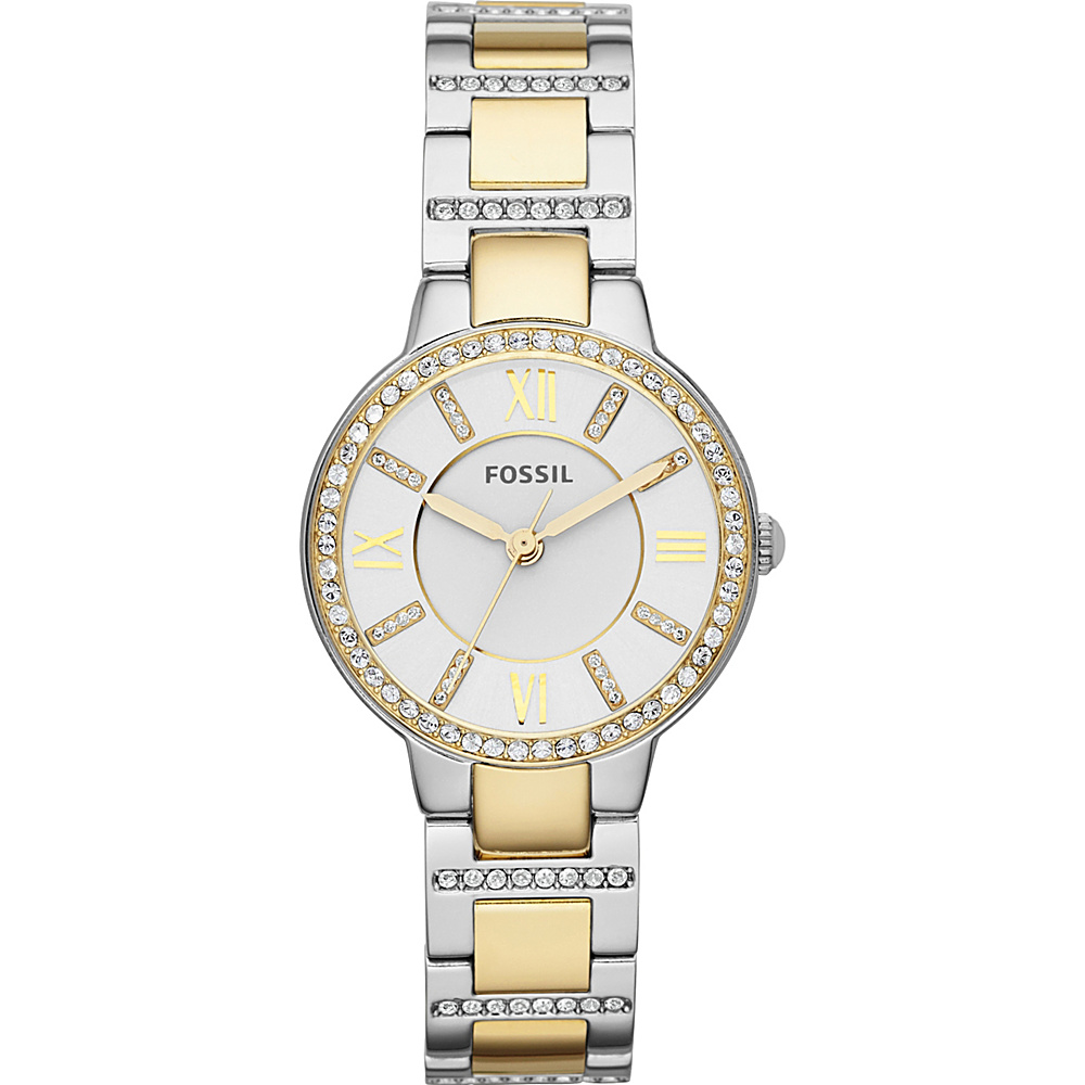 Fossil Virginia Three-Hand Stainless Steel Watch Two Tone-Silver/Gold - Fossil Watches - Fashion Accessories, Watches