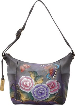 Anuschka Medium Crossbody Accordion Antique Rose Pewter - Anuschka Leather Handbags