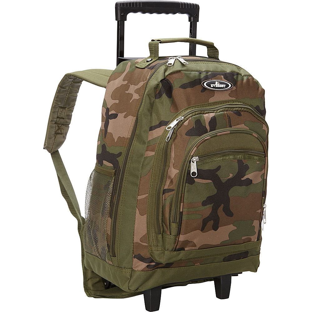 Everest Woodland Camo Wheeled Backpack Woodland Camo Everest Rolling Backpacks