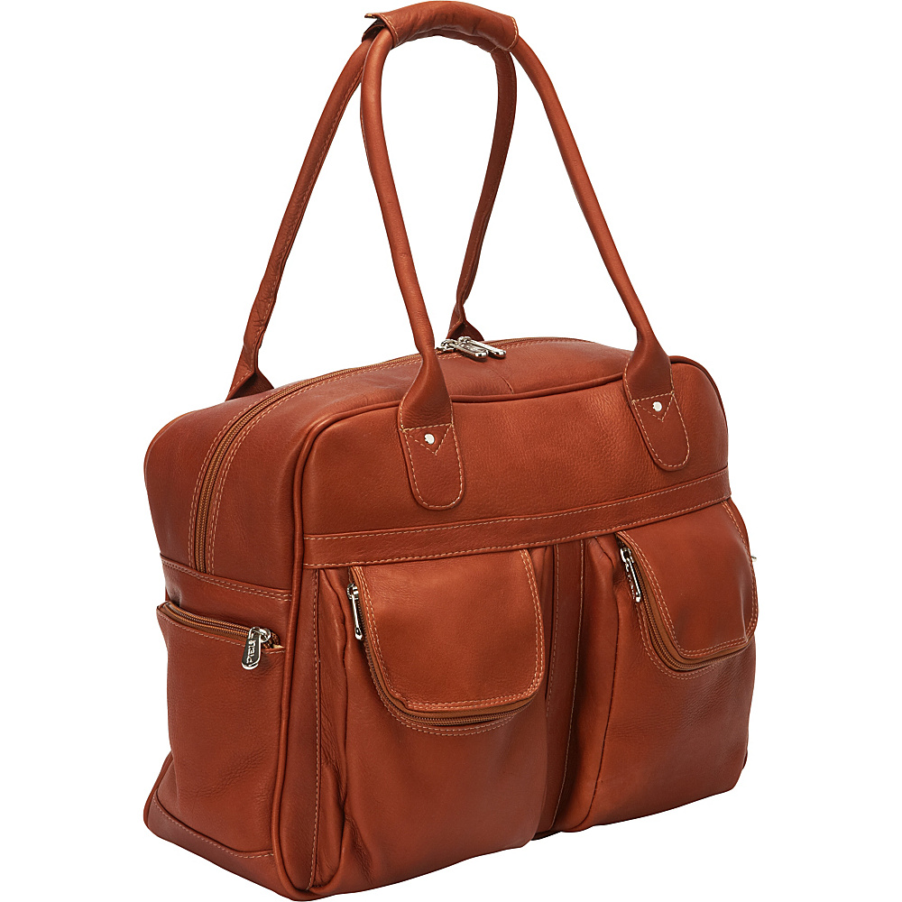 Piel Multi-Pocket Satchel Saddle - Piel Luggage Totes and Satchels - Luggage, Luggage Totes and Satchels